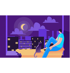 Young man sits at night on window and looks moon vector