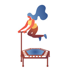 young woman jumping on trampoline flat character vector image