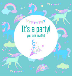 bright birthday party card with unicorns and vector image vector image