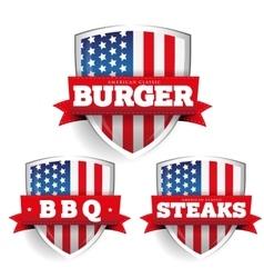 Burger Steaks Bbq vintage shield with USA flag vector image vector image