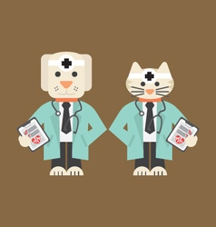Dog And Cat In Doctor Uniform vector image vector image