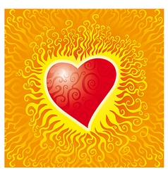 flames heart vector image vector image