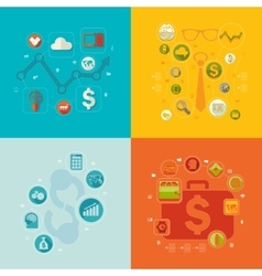 Set of flat icons Business concept vector image vector image