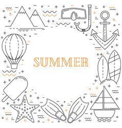 summer vacation line design vector image vector image