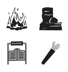 A bonfire a door to a saloon a quiver with vector