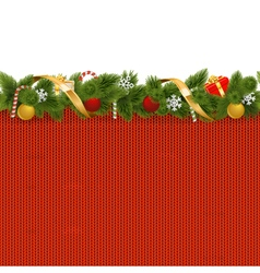 Christmas Border with Knitted Pattern vector image