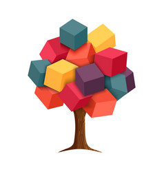 Colorful 3d tree geometric concept vector