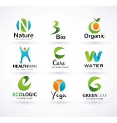 green ecology alphabet vector image