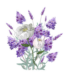 lavender and peony bouquet vector image