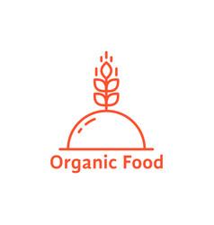 red dish like organic food logo vector image vector image