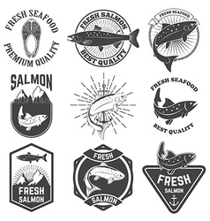 Set of the fresh salmon labels emblems and design vector image