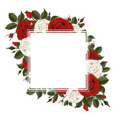 square greeting card on red and pink rose flowers vector image vector image