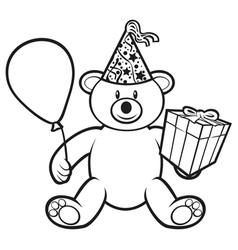 teddy bear toy with gift box vector image