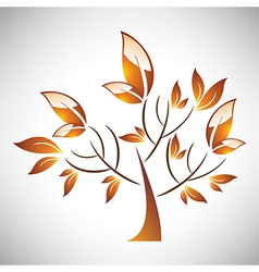 Abstract stylized autumn tree with leaf vector image vector image