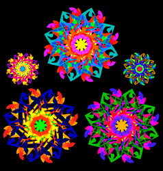 collection of flowers in a kaleidoscope style with vector image