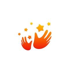 hand slap star party happy logo vector image vector image