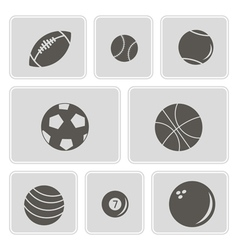 monochrome icons with sports balls vector image