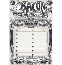 Vintage page bacon menu for restaurant vector