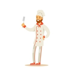 Bearded Man Professional Cooking Chef Working In vector image