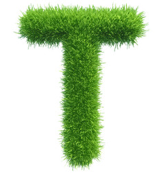 capital letter t from grass on white vector image
