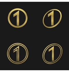 Number one icons vector image vector image