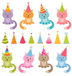 set of cats and colorful birthday hats vector image vector image