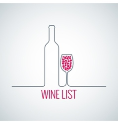 wine bottle glass list menu background vector image