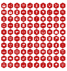 100 communication icons hexagon red vector image