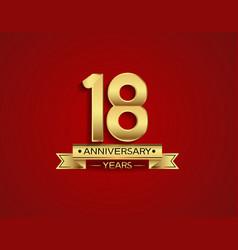 18 years anniversary golden design color vector