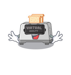 A picture bread toaster character wearing vector