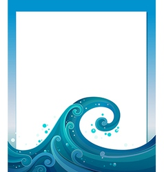 An empty template with blue waves vector