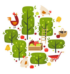 apple trees and farm landscape scene vector image