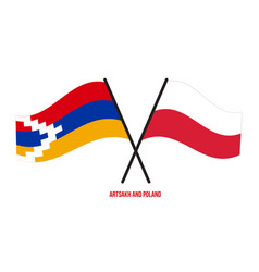 Artsakh and poland flags crossed and waving flat vector