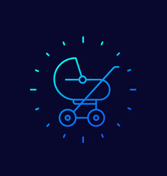 baby stroller icon linear vector image