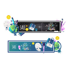Back to school sale horizontal banners set with vector