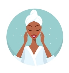 Beautiful young woman touching her face Beauty Spa vector