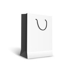 black and white paper shopping bag mockup vector image