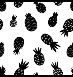 black pineapple pattern exotic pineapples vector image