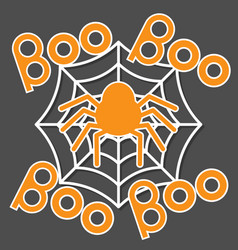 Boo text spider round web flat vector