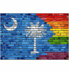 Brick wall south carolina and gay flags vector