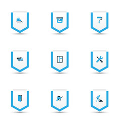 Building icons colored set with tipper vector