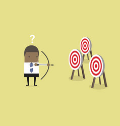 Businessman confused by multiple bulls eye target vector