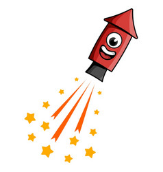 Cartoon style fireworks rocket vector
