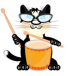 Cat with drum vector