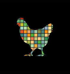 chicken bird mosaic color silhouette animal vector image