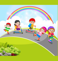 children are playing with scooter vector image