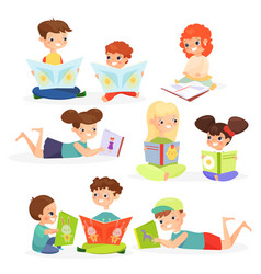 children reading books flat vector image
