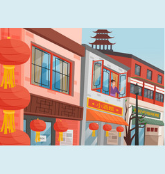 Chinese street oriental woman at window red vector