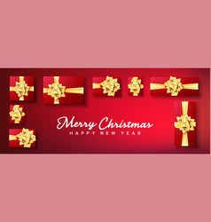 christmas banner gifts box with gold bow vector image