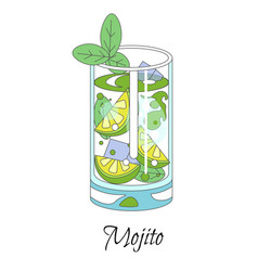 cocktail party mojito drink with ice cubes lime vector image